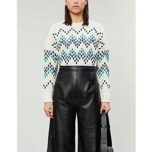 MAJE Massimo Chevron Chunky Rib-Knit Sweater